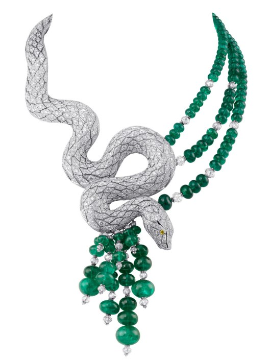 Cartier Diamond and Emerald Snake Necklace