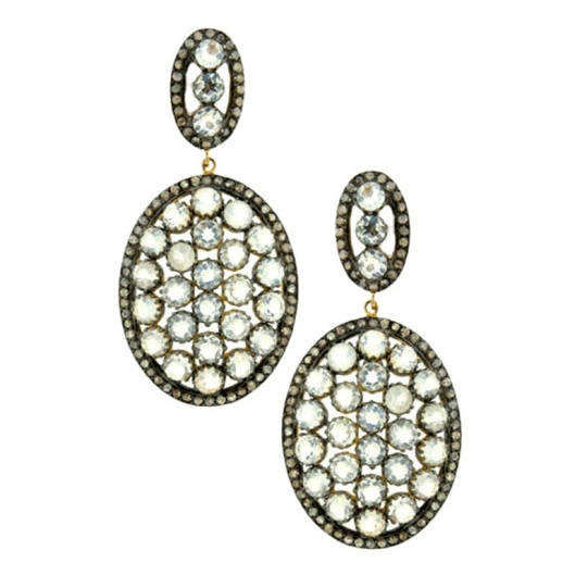 Diamond and Moonstone Small Oval Drop EarringsPRICE:$925