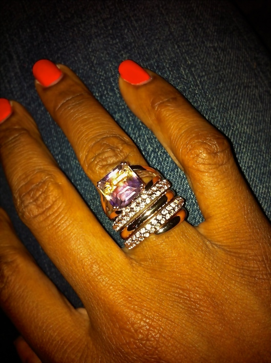 I love how this look is a mix of high and low. Ametrine and rose gold ring stacked with the rose gold and crystal ring from Bellfast.