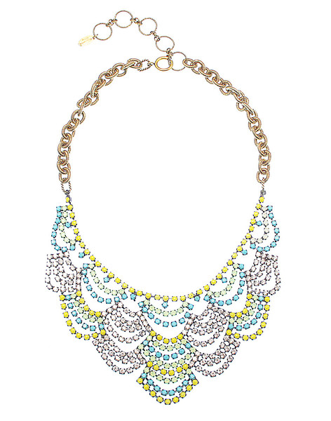 austen in mint ombre $485 USD ITEM LACENK-TYC An ombre version of our traditional lace crystal bib in bright yellow, turquoise and mint finished with gold cable chain is a fun twist on an old classic.  24kt Gold Plate  MADE IN THE USA  Style No: LACENK-TYC