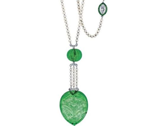 Art Deco Emerald, Natural Pearl and Diamond Sautoir Necklace Presale Estimate $20,000/$30,000 Sold for $96,000