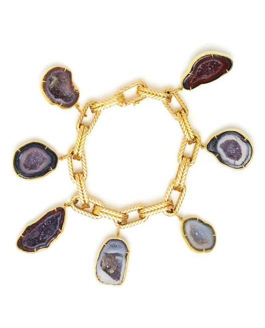 Kimberly McDonald Yellow Gold and Geode Charm Bracelet US$22,349.