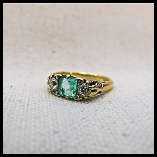 VICTORIAN EMERALD & DIAMOND THREE STONE RING $2,300.00