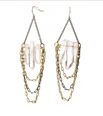 Crystal points shimmer amid links of cascading links of gold and gunmetal chain. $98.00